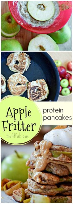 Real apple rings are dipped in a protein pancake batter and browned up on the griddle -- so yummy for breakfast and way healthier for breakfast than an apple fritter from the donut case.