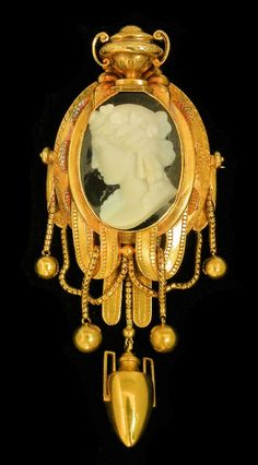 Victorian hardstone cameo brooch in the classical revival style.