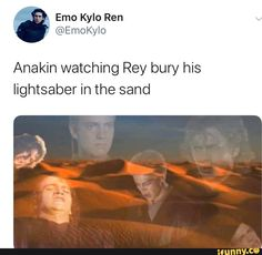 Anakin watching Rey bury his lightsaber in the sand