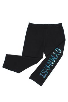 Girls Sparkle Gymnast Black Cotton Capri Legging #flipnfit #gymnast #gymnastics #gymnasticsapparel #capri #legging #sequins #sparkle #hologram | FlipNFit.com $29.99