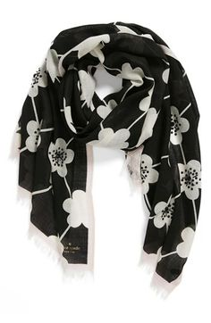 kate spade new york 'festive flower' embellished scarf