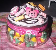 Pink Tiger Sweets Decoden Jar by Sillysockmonkeys on Etsy, $13.00
