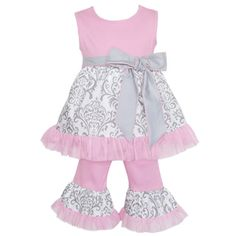 AnnLoren Boutique Girls Grey Damask Tunic/ Pink Capris 2-piece