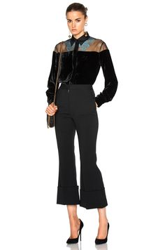 Stella McCartney Silk Mix Fluid Velvet Top in Black | FWRD