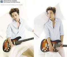 CNBLUE's Yonghwa poses with his guitar on a bed for 'Harper's Bazaar China' | http://www.allkpop.com/article/2014/04/cnblues-yonghwa-poses-with-his-guitar-on-a-bed-for-harpers-bazaar-china