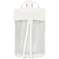 Desa Nineteenseventytwo Women Small Fourty Four Perforated Backpack ($540) ❤ liked on Polyvore featuring bags, backpacks, white, leather backpack bag, backpacks bags, rucksack bag, leather daypack and day pack backpack