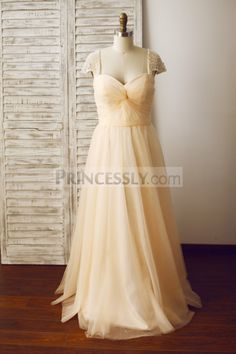 Champagne Tulle Beaded Cap Sleeves Prom Party Dress