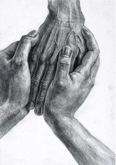 Zwei Hände umfassen eine dritte Hand  Pflege, Trost Hände zeichnen