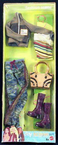 Barbie My Scene Fashion Scene Camouflage Pants Jacket Accessories NRFB #Mattel