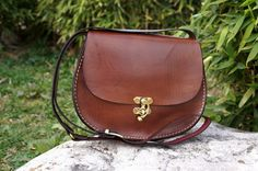 Chocolate brown Oval leather bag medium by GalenLeather on Etsy, $59.00