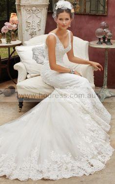 Mermaid Sleeveless Deep V-neck Lace-up Floor-length Wedding Dresses feaf1096--Hodress