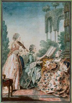 Mesdemoiselles Royer, 1760 by Louis Caroggis Carmontelle (1717-1806)