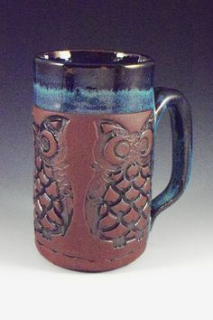 Owl Mug, Stoneware Owl Mug, Owl Coffee cup, Owl Tea Mug, Handbuilt Mug, Whimsical Clay Owl Mug, Whimsical Owl, Red Clay Mug by alissaclarkclayworks on Etsy https://www.etsy.com/listing/41220928/owl-mug-stoneware-owl-mug-owl-coffee-cup