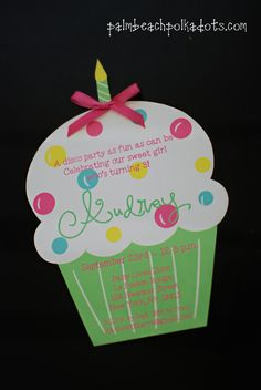 Cupcake Birthday Invitations by Palm Beach Polkadots
