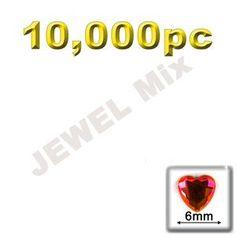 Flatback Rhinestones, Faceted Heart, 6mm, 10000-pc, Jewel Mix