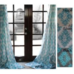 @Overstock - Curtain panel features an intricate damask pattern that is flocked in a velvety material. Grommet style for easy hanging.  Panel is lined with a neutral color fabric which  filters sunlight and offers a beautiful fall.http://www.overstock.com/Home-Garden/Zarya-Grommet-Flocked-Curtain-Panel-84-in/6362147/product.html?CID=214117 $57.99