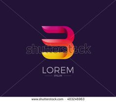 B Alphabet letter logo. Abstract Glossy Colorful logotype vector design template.