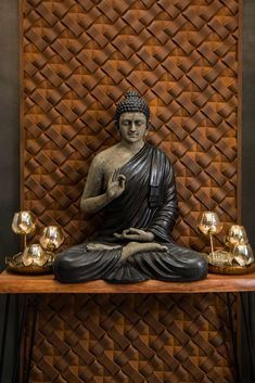 Exterior Wall Design, Room Door Design, Tv Wall Design, Foyer Design, Buddha Statue Home, Buddha Home Decor, Buddha Statues, Entrance Decor, Entrance Design