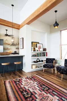 Rugs I love. Inside an Eclectic Austin Kitchen via @domainehome