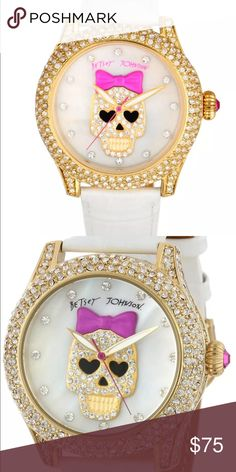 NWT white skull bling watch NWT Betsey Johnson white skull watch! Bling, bling, bling! Never worn, comes in original box with original tags! Battery is dead, but it will be an easy replacement! Betsey Johnson Accessories Watches