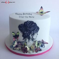 Write Name on Birthday Cake Online Free - eNameWishes Birthday Name, Birthday Woman, Artist Cake, Happy Birthday Cake Images, Butterfly Cakes, Cake Online, Wishes Images, Edible Art, Sweet 16