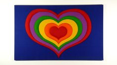Tampella Fabric Rainbow Heart Stretched and by modernspecific