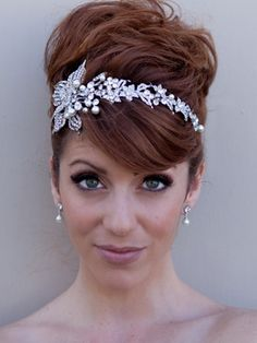 Rhinestone Flower Headband Tiara by Hair Comes the Bride - Love the placement of the headband.