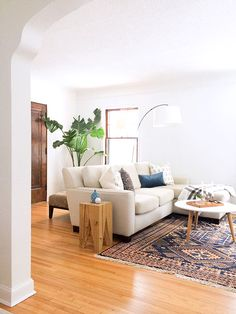 neutral home decor paired with a bold vintage turkish rug