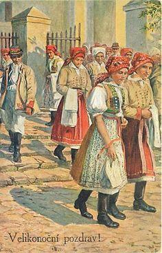 Velikonoce na Horňácku Beautiful Patterns, Czech Republic, Folklore, Roots, Costumes, Painting, Vintage, Ideas, Art