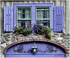 periwinkle shutters and door! Old Windows, Windows And Doors, Exterior Windows, Ventana Windows, Purple Door, Through The Window, Deco Design, Window Boxes, Door Knockers
