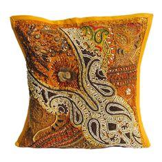 "16X16"" Indian Cotton Beaded Patch Work Decorative Pillow Case Cushion Cover 045 #Handmade #ArtDecoStyle"