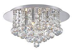 Modern Polished Gold 5 Way Lead Crystal Jewel Diamond Effect Droplet Flush Ceiling Chandelier Fitting