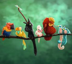 Seven crazy birds. Creature art and creature design - by Alida Loubser (Artwork medium: Digital painting in Adobe Photoshop, Wacom Intuos tablet) Crazy Bird, Wacom Intuos, Creature Design, Adobe Photoshop, Creatures, Birds, Christmas Ornaments, Digital, Medium