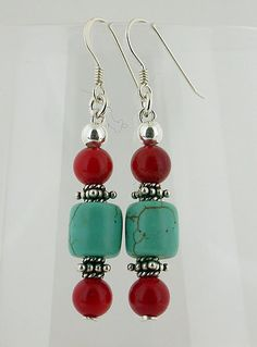 Turquoise And Red Coral Sterling Silver Earrings 01 by 57north, $14.99