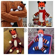 Roundup of DIY Knit, Crochet and Plush Hobbes from the Calvin and Hobbes Comic Strip