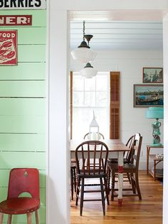 vintage colours, mismatched furniture - lovely ideas for a rustic guest cottage
