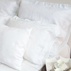 Lniana poszewka na poduszkę z ozdobną 5-cio centymetrową listwą, zamknięta na zakładkę