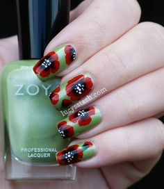 Lucy's Stash - One stroke nail art Poppies
