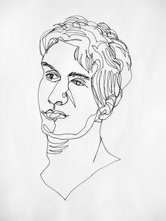 continuous line portrait, Innie wong Line Drawing Artists, Contour Line Drawing, Contour Drawings, Drawing Faces, Drawing Tips, Single Line Drawing, Continuous Line Drawing, Principles Of Art, Digital Painting Tutorials