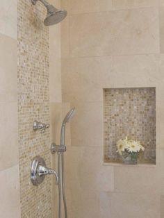 Awesome Shower Tile Ideas Make Perfect Bathroom Designs Always : Minimalist Bathroom Metalic Head Shower Small Flower Vase Shower Tile Ideas by jsanu.openshaw