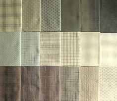Japanese Taupe fabrics - 18 green and brown fat quarters
