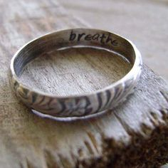 Sterling Silver Engraved Floral Ring in Dark Finish with Secret Word