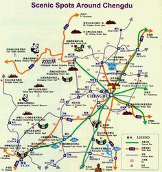 Chengdu travel maps | Printable hi-res tourist map of Chengdu ...