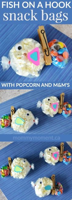 The cutest little fish snack bags made with popcorn and m&m's. I love the clothespin fish hook. Such a great snack idea for kids birthday parties and school parties