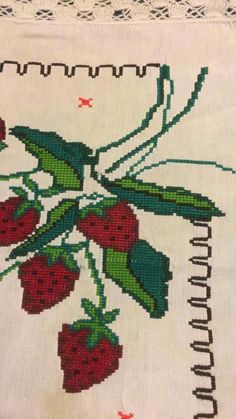 Christmas Cross, Projects To Try, Cross Stitch, Crochet, Cross Stitch Fruit, Cross Stitch Borders, Cross Stitch Designs, Strawberries, Towels