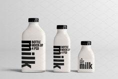 Milk Bottle Mock-Up Bundle Honey Packaging, Beverage Packaging, Coffee Packaging, Bottle Packaging, Bottle Mockup, Food Packaging Design, Packaging Design Inspiration, Brand Packaging, Milk Y Goku