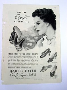 vintage Daniel Green Slippers black satin bedroom size 7.5 8 ...
