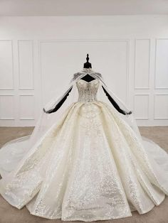 Luxury ballgown royal wedding dress with cape, champagne color, size is customized Queen Wedding Dress, Big Wedding Dresses, Luxury Wedding Dress, Formal Dresses For Weddings, Wedding Dress Sizes, Princess Wedding Dresses, Formal Wedding, Extravagant Wedding Dresses, Royal Wedding Gowns