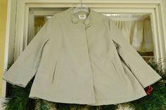 Talbots Large Button Stretch Jacket M Khaki Brushed Finish Hidden Buttons #Talbots #BasicJacket