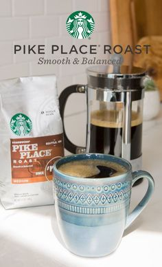 A smooth blend of Latin American beans with subtly rich flavors of cocoa and toasted nuts, Pike Place is sure to be an at-home favorite. Created by master blenders and roasters, it's perfect for people who want a perfectly balanced cup to enjoy throughout Coffee Mix, I Love Coffee, My Coffee, Coffee Farm, Black Coffee, Starbucks Drinks, Starbucks Coffee, Coffee Is Life, Coffee Lovers
